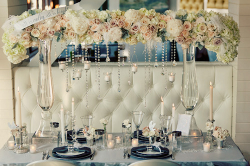 ... From Swarovski Strands Paired With Sophisticated Swarovski French Cut  Crystal Pendants And Floating Candles Dripping From The Lifted, Lush Table  Runner ...