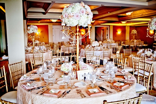 The Gorgeous Reception Was A Combination Of Tall Gold Candelabras And Short Urn Vases Covered With Fluffy Fragrant Blooms Hydrangea