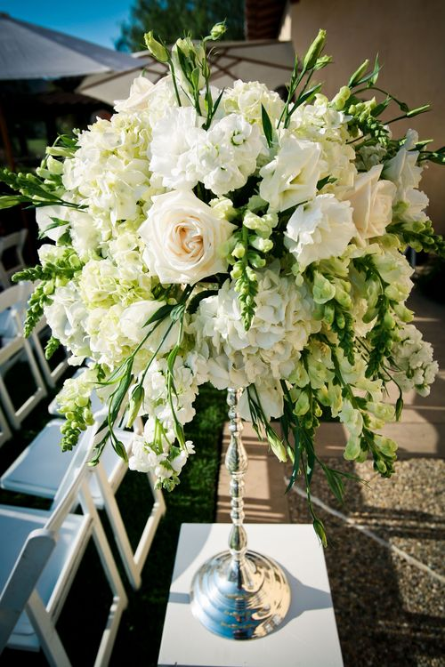 The Reception Was Created With A Mixture Of Tall And Short Floral Arrangements To Match Ceremony Ivory Cream Green Florals Included Delicate