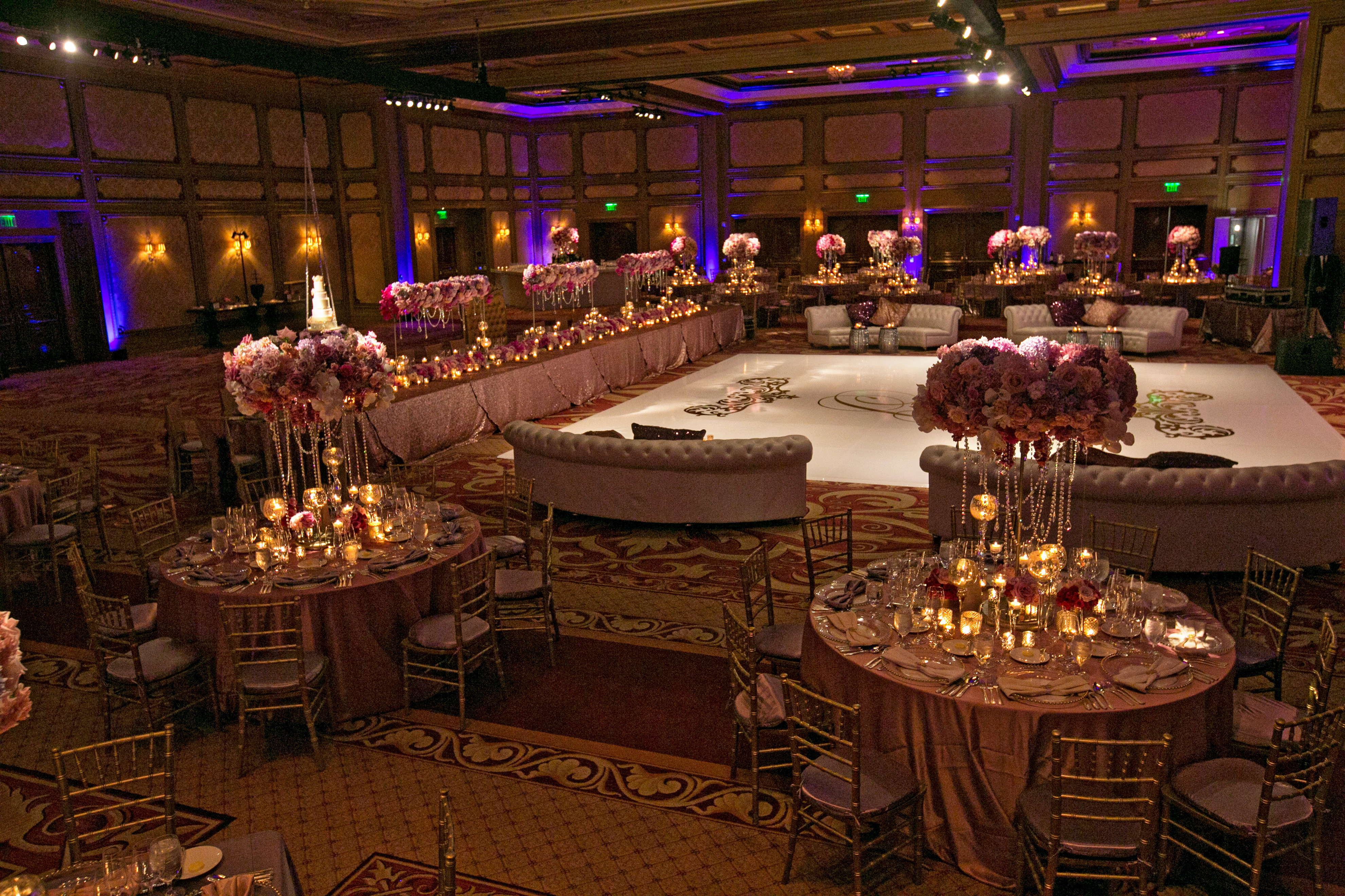 Tall centerpiece blush botanicals san diego florist for Glass tables for wedding reception