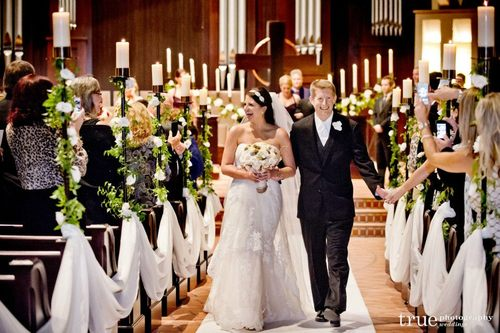 The Traditional Ceremony Took Place At Village Church In Rancho Santa Fe Where We Dressed Up Their Provided Candle Sticks With Soft Greenery And Ivory